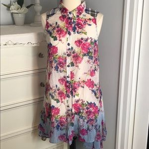 Anthro Aratta Sheer Floral Blouse